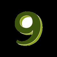 neun grün transparent